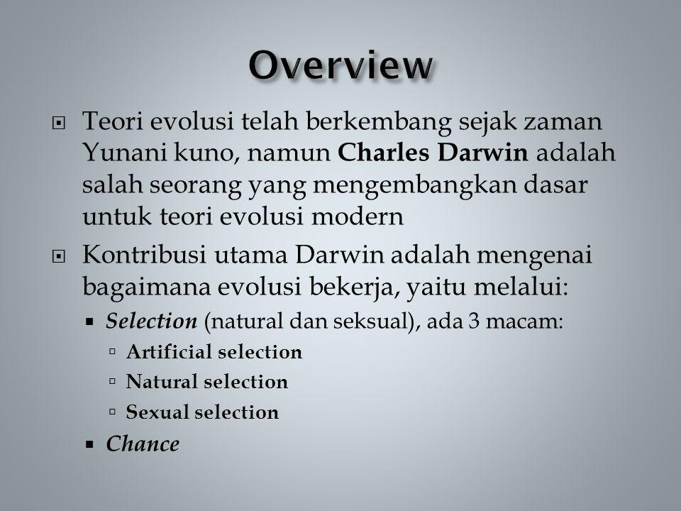  Teori evolusi telah berkembang sejak zaman Yunani kuno, namun Charles Darwin adalah salah seorang yang mengembangkan dasar untuk teori evolusi modern  Kontribusi utama Darwin adalah mengenai bagaimana evolusi bekerja, yaitu melalui:  Selection (natural dan seksual), ada 3 macam:  Artificial selection  Natural selection  Sexual selection  Chance