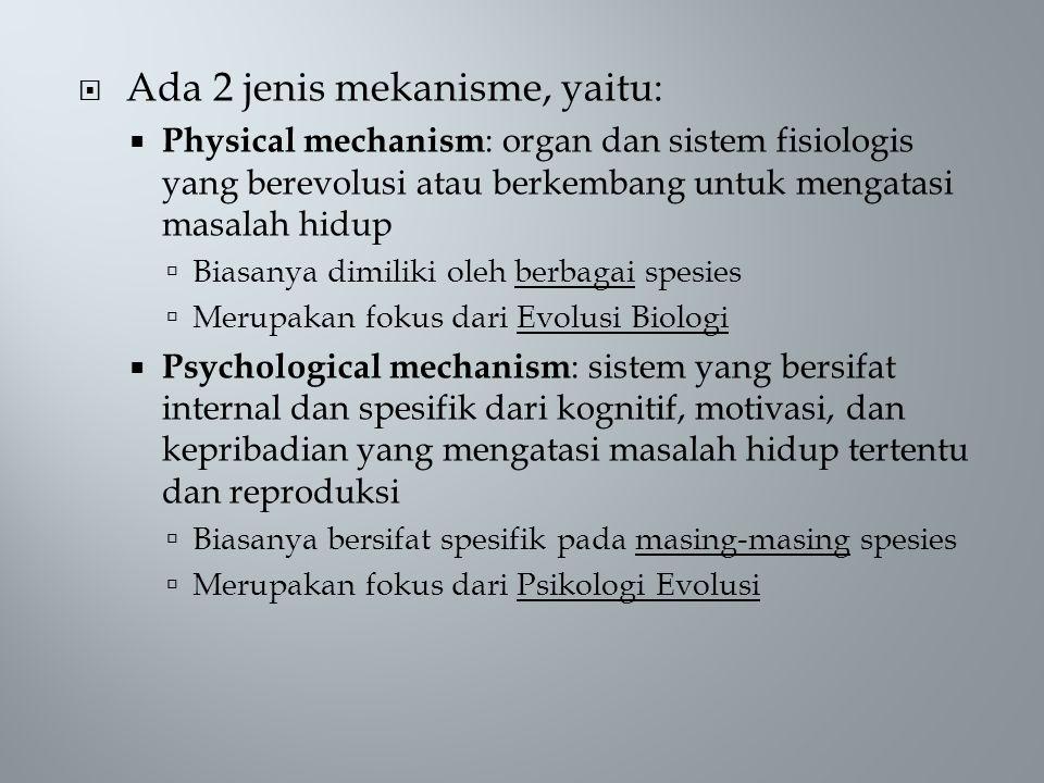  Ada 2 jenis mekanisme, yaitu:  Physical mechanism : organ dan sistem fisiologis yang berevolusi atau berkembang untuk mengatasi masalah hidup  Biasanya dimiliki oleh berbagai spesies  Merupakan fokus dari Evolusi Biologi  Psychological mechanism : sistem yang bersifat internal dan spesifik dari kognitif, motivasi, dan kepribadian yang mengatasi masalah hidup tertentu dan reproduksi  Biasanya bersifat spesifik pada masing-masing spesies  Merupakan fokus dari Psikologi Evolusi