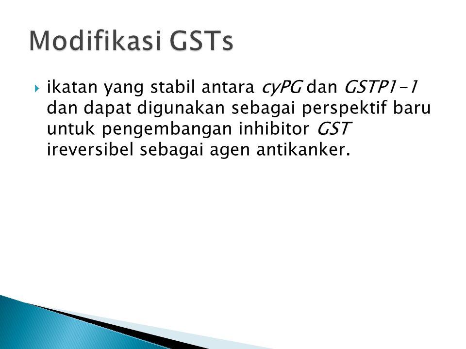  ikatan yang stabil antara cyPG dan GSTP1-1 dan dapat digunakan sebagai perspektif baru untuk pengembangan inhibitor GST ireversibel sebagai agen ant