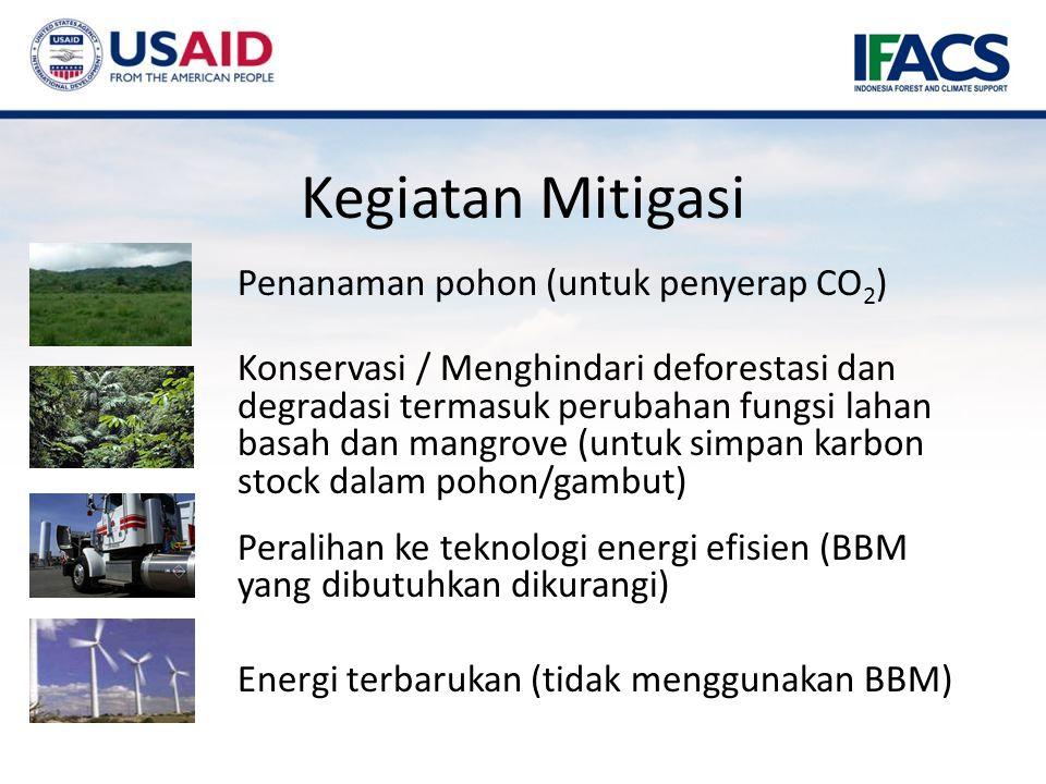 Penanaman pohon (untuk penyerap CO 2 ) Konservasi / Menghindari deforestasi dan degradasi termasuk perubahan fungsi lahan basah dan mangrove (untuk simpan karbon stock dalam pohon/gambut) Peralihan ke teknologi energi efisien (BBM yang dibutuhkan dikurangi) Energi terbarukan (tidak menggunakan BBM) Kegiatan Mitigasi