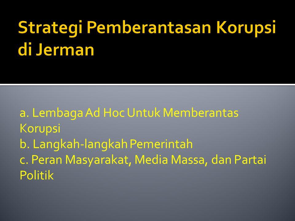 Strategi Pemberantasan Korupsi di Jerman a. Lembaga Ad Hoc Untuk Memberantas Korupsi b. Langkah-langkah Pemerintah c. Peran Masyarakat, Media Massa, d