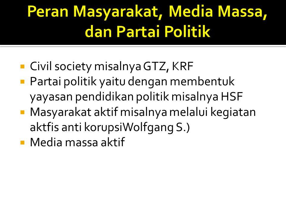  Civil society misalnya GTZ, KRF  Partai politik yaitu dengan membentuk yayasan pendidikan politik misalnya HSF  Masyarakat aktif misalnya melalui