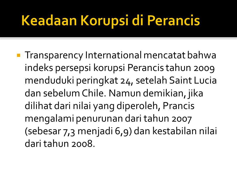  Transparency International mencatat bahwa indeks persepsi korupsi Perancis tahun 2009 menduduki peringkat 24, setelah Saint Lucia dan sebelum Chile.