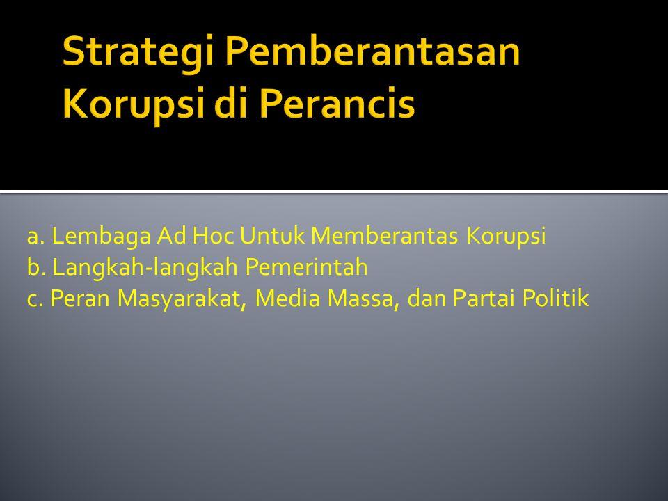 a. Lembaga Ad Hoc Untuk Memberantas Korupsi b. Langkah-langkah Pemerintah c. Peran Masyarakat, Media Massa, dan Partai Politik