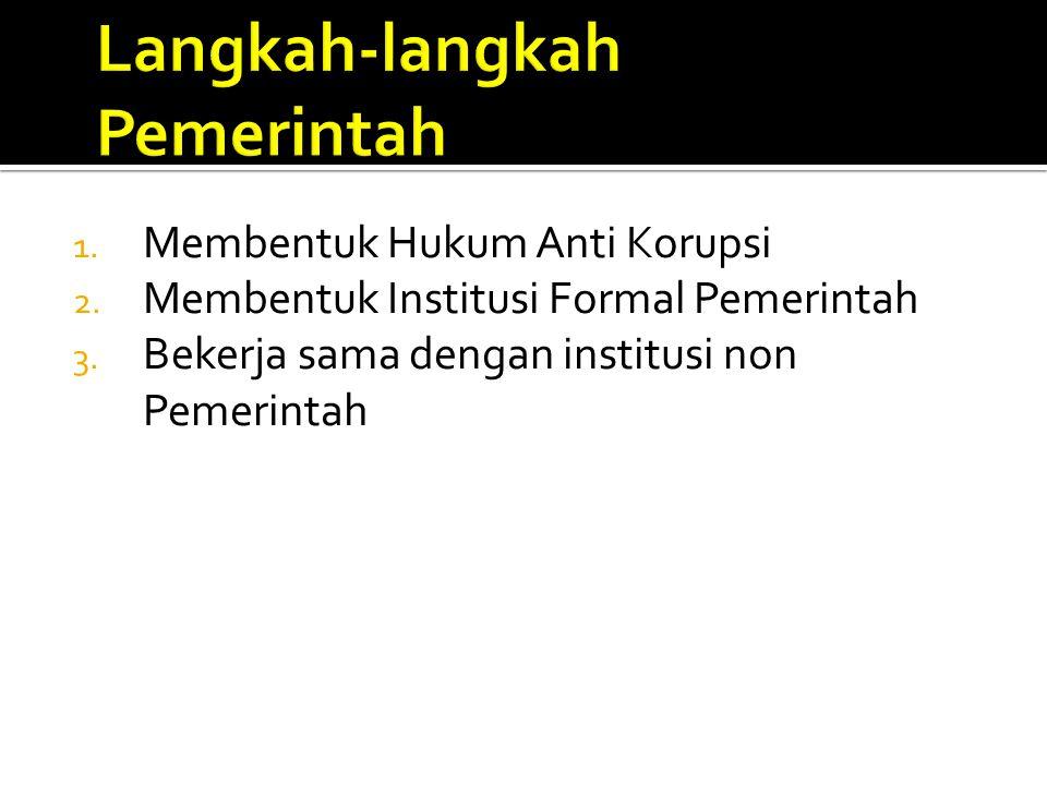 1. Membentuk Hukum Anti Korupsi 2. Membentuk Institusi Formal Pemerintah 3. Bekerja sama dengan institusi non Pemerintah