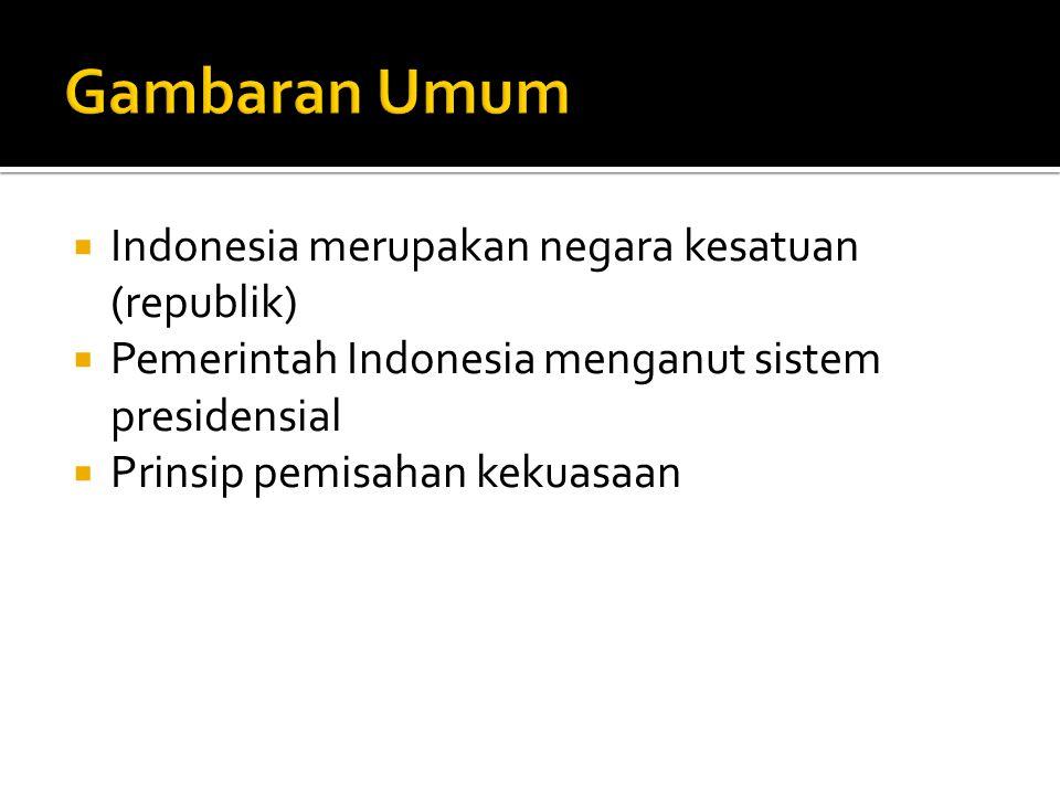  Indonesia merupakan negara kesatuan (republik)  Pemerintah Indonesia menganut sistem presidensial  Prinsip pemisahan kekuasaan