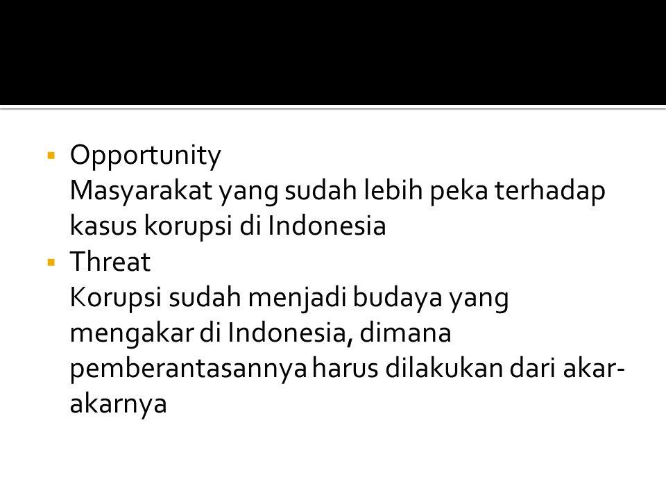  Opportunity Masyarakat yang sudah lebih peka terhadap kasus korupsi di Indonesia  Threat Korupsi sudah menjadi budaya yang mengakar di Indonesia, d