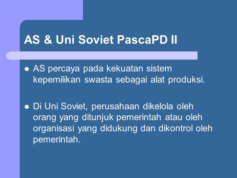 AS & Uni Soviet PascaPD II AS percaya pada kekuatan sistem kepemilikan swasta sebagai alat produksi. Di Uni Soviet, perusahaan dikelola oleh orang yan