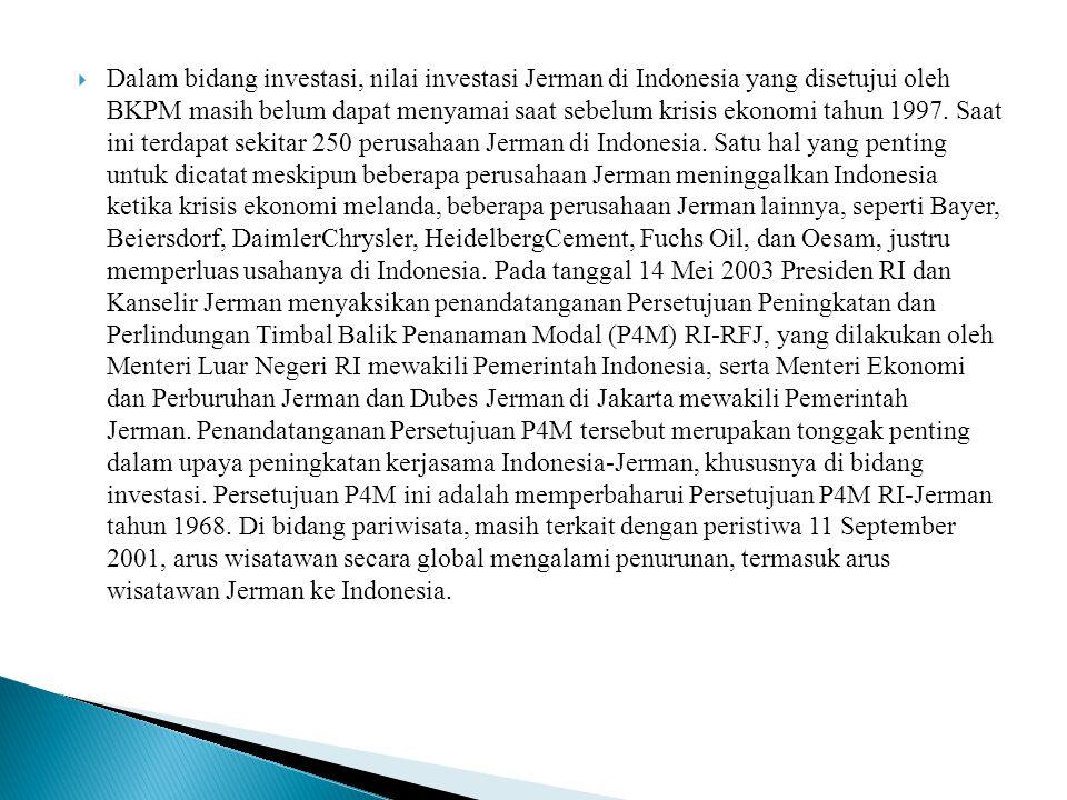  Dalam bidang investasi, nilai investasi Jerman di Indonesia yang disetujui oleh BKPM masih belum dapat menyamai saat sebelum krisis ekonomi tahun 19