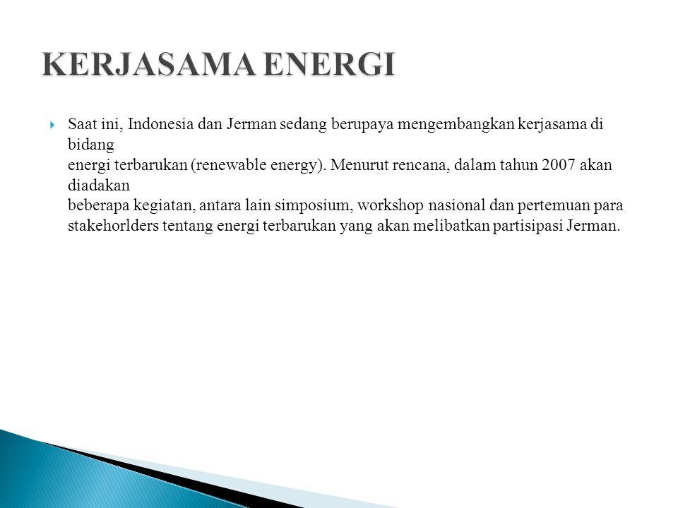  Saat ini, Indonesia dan Jerman sedang berupaya mengembangkan kerjasama di bidang energi terbarukan (renewable energy). Menurut rencana, dalam tahun