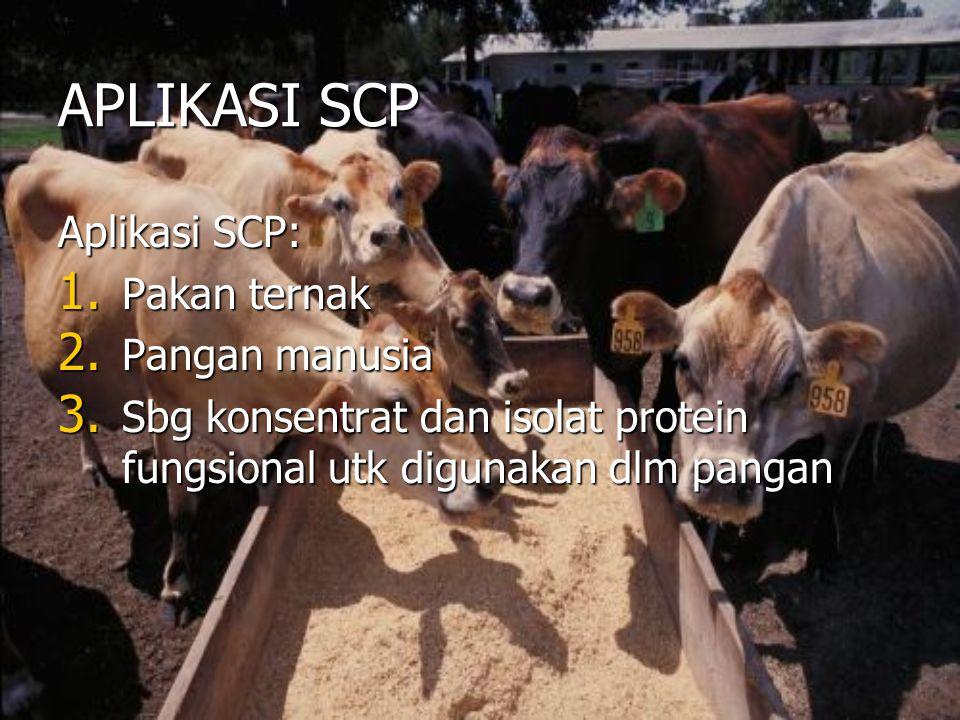 APLIKASI SCP Aplikasi SCP: 1. Pakan ternak 2. Pangan manusia 3. Sbg konsentrat dan isolat protein fungsional utk digunakan dlm pangan
