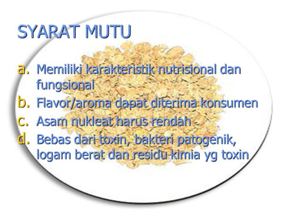 SYARAT MUTU a. Memiliki karakteristik nutrisional dan fungsional b. Flavor/aroma dapat diterima konsumen c. Asam nukleat harus rendah d. Bebas dari to