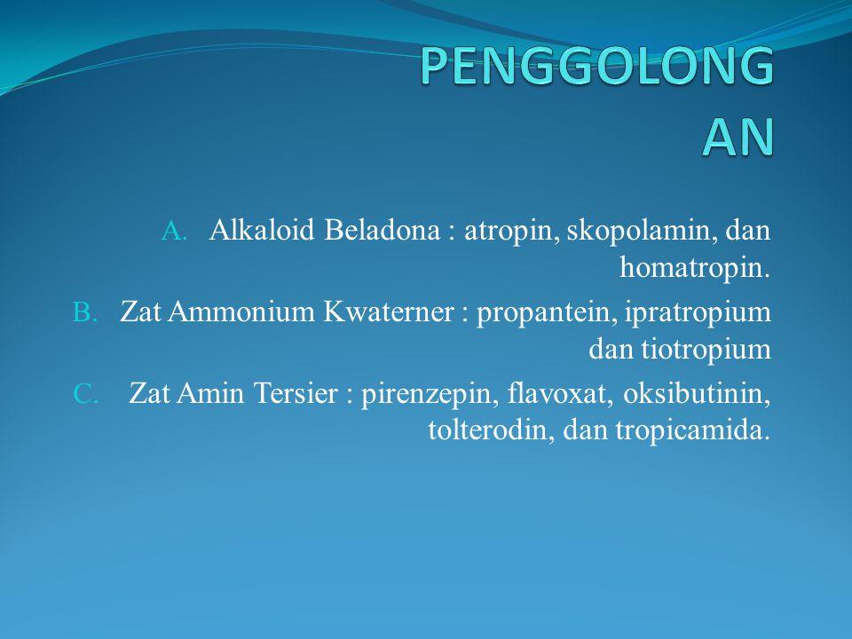 A. Alkaloid Beladona : atropin, skopolamin, dan homatropin. B. Zat Ammonium Kwaterner : propantein, ipratropium dan tiotropium C. Zat Amin Tersier : p