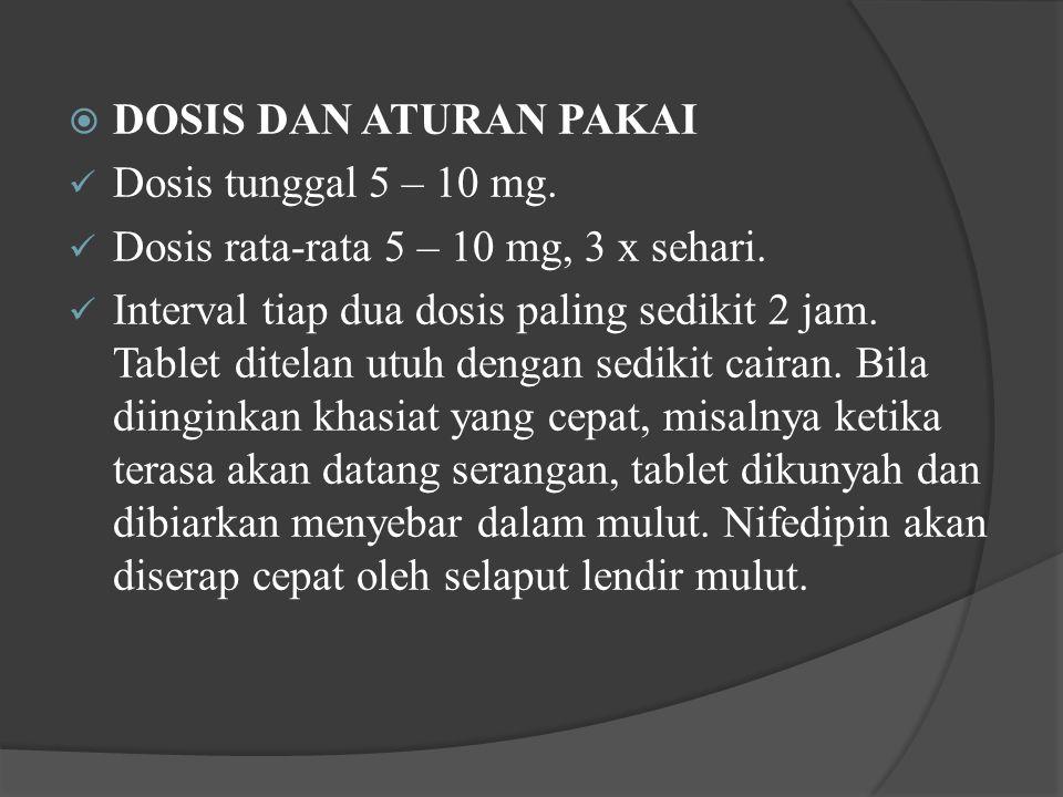  DOSIS DAN ATURAN PAKAI Dosis tunggal 5 – 10 mg. Dosis rata-rata 5 – 10 mg, 3 x sehari. Interval tiap dua dosis paling sedikit 2 jam. Tablet ditelan