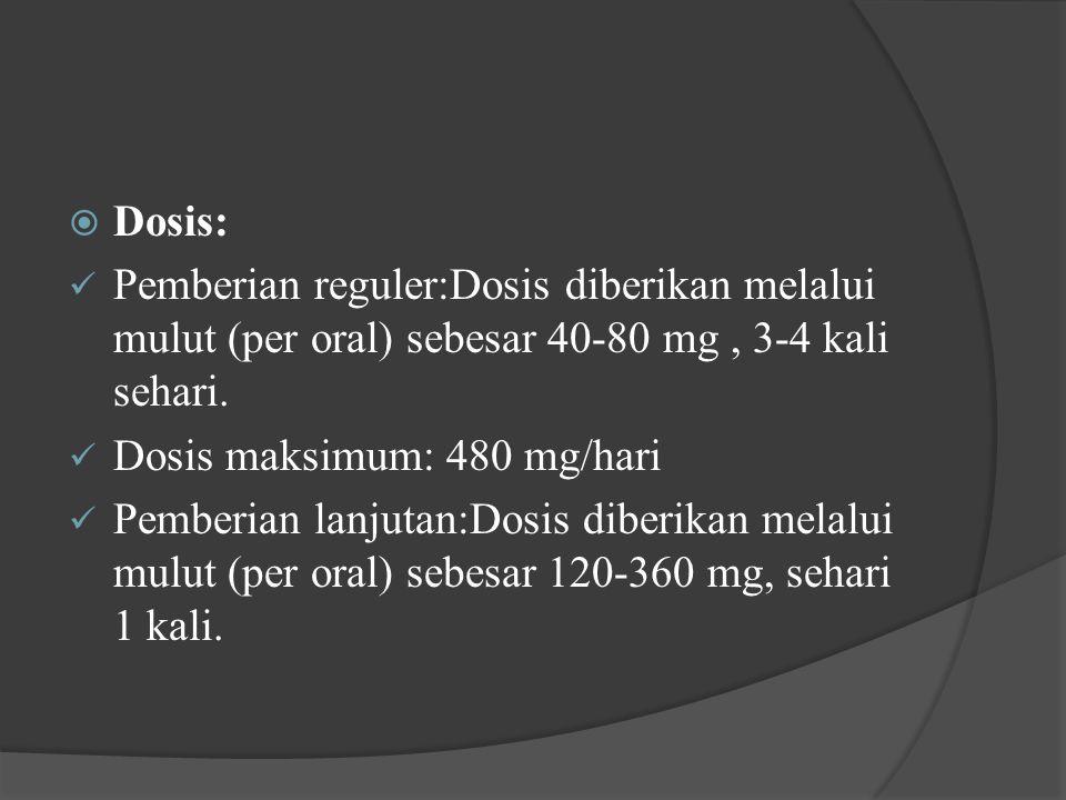  Dosis: Pemberian reguler:Dosis diberikan melalui mulut (per oral) sebesar 40-80 mg, 3-4 kali sehari. Dosis maksimum: 480 mg/hari Pemberian lanjutan: