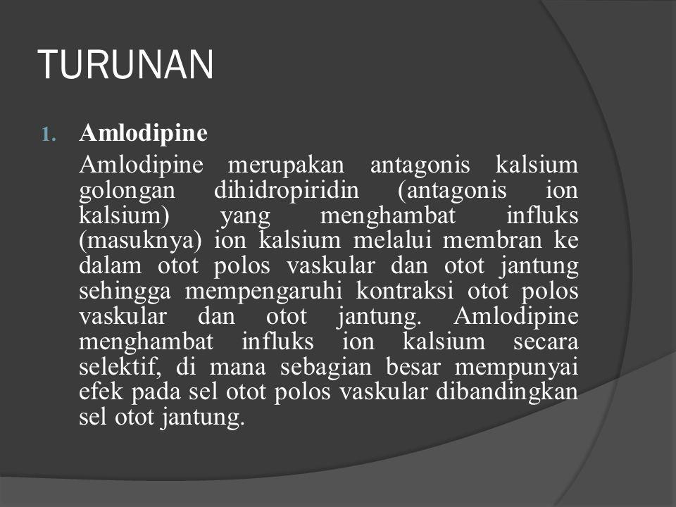 TURUNAN 1. Amlodipine Amlodipine merupakan antagonis kalsium golongan dihidropiridin (antagonis ion kalsium) yang menghambat influks (masuknya) ion ka