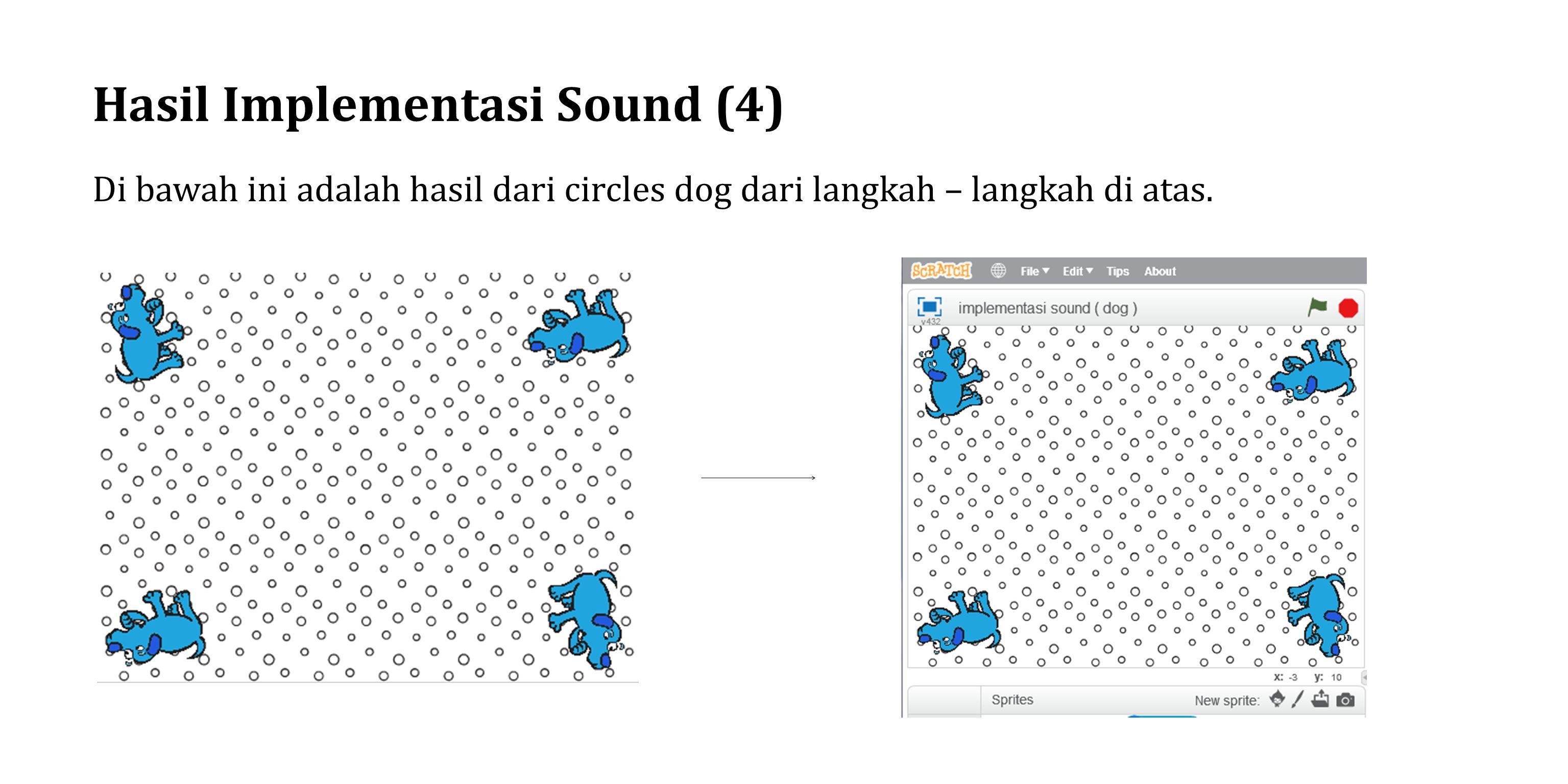 Hasil Implementasi Sound (4) Di bawah ini adalah hasil dari circles dog dari langkah – langkah di atas.