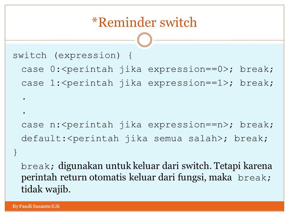 *Reminder switch By Fandi Susanto S.Si switch (expression) { case 0: ; break; case 1: ; break;. case n: ; break; default: ; break; } break; digunakan
