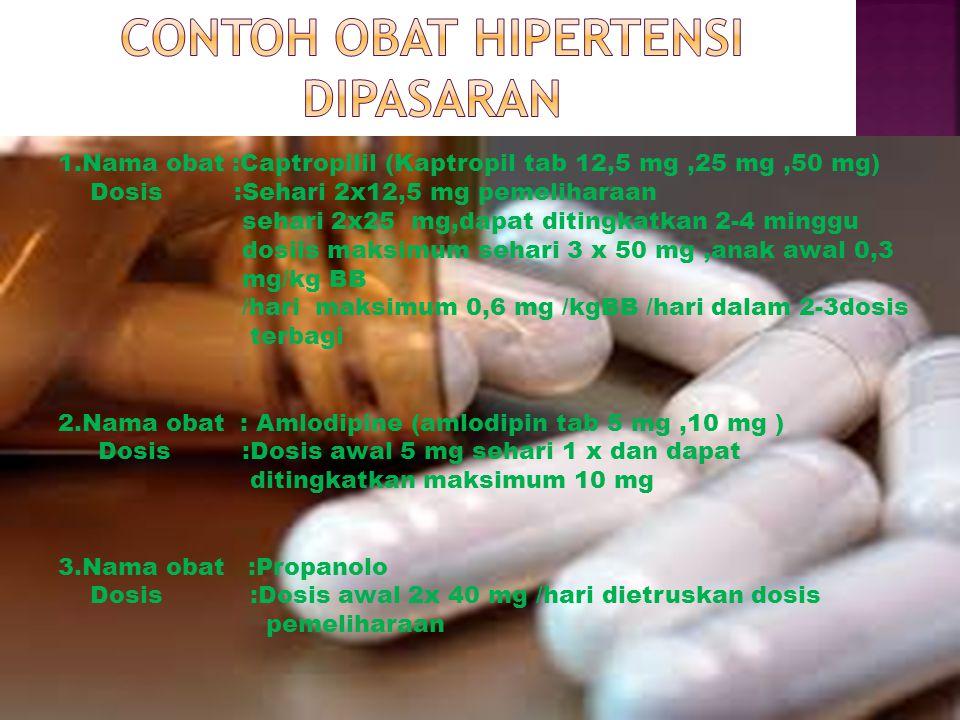 1.Nama obat :Captropilil (Kaptropil tab 12,5 mg,25 mg,50 mg) Dosis :Sehari 2x12,5 mg pemeliharaan sehari 2x25 mg,dapat ditingkatkan 2-4 minggu dosiis