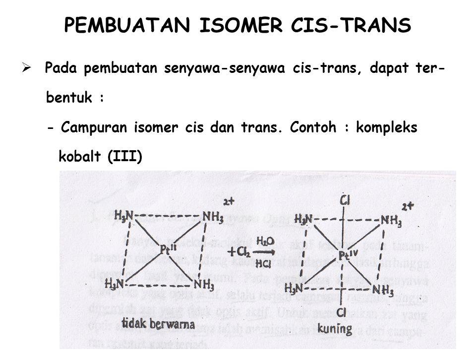 PEMBUATAN ISOMER CIS-TRANS  Pada pembuatan senyawa-senyawa cis-trans, dapat ter- bentuk : - Campuran isomer cis dan trans. Contoh : kompleks kobalt (