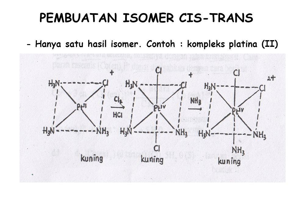 - Hanya satu hasil isomer. Contoh : kompleks platina (II) PEMBUATAN ISOMER CIS-TRANS
