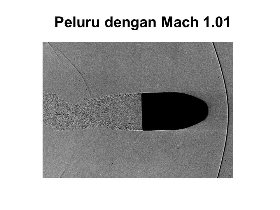 Supersonik Laju sumber > Laju bunyi (Mach 1.4 - supersonik ) Laju sumber = Laju bunyi (Mach 1 - sound barrier )