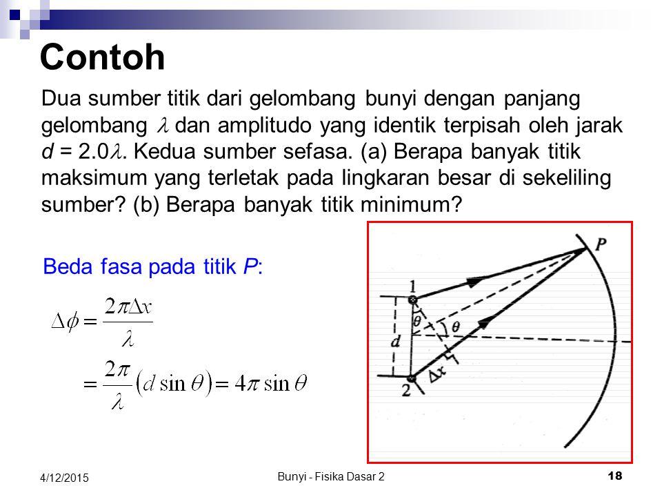 Bunyi - Fisika Dasar 2 17 4/12/2015 (a) ∆p m = 1.5 Pa (b) f = pw/2p=(330 s -1 )/2=165 Hz (c) l=2p/k= 2p /(1.00 m -1 ) p=2 m (d) v = lf=330 m/s Soal …
