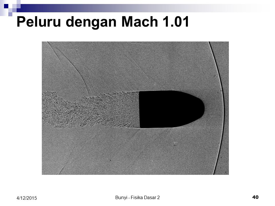 Bunyi - Fisika Dasar 2 39 4/12/2015 Supersonik Laju sumber > Laju bunyi (Mach 1.4 - supersonik ) Laju sumber = Laju bunyi (Mach 1 - sound barrier )