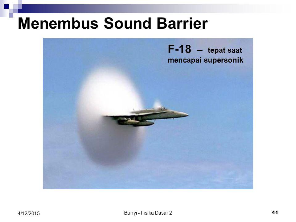 Bunyi - Fisika Dasar 2 40 4/12/2015 Peluru dengan Mach 1.01