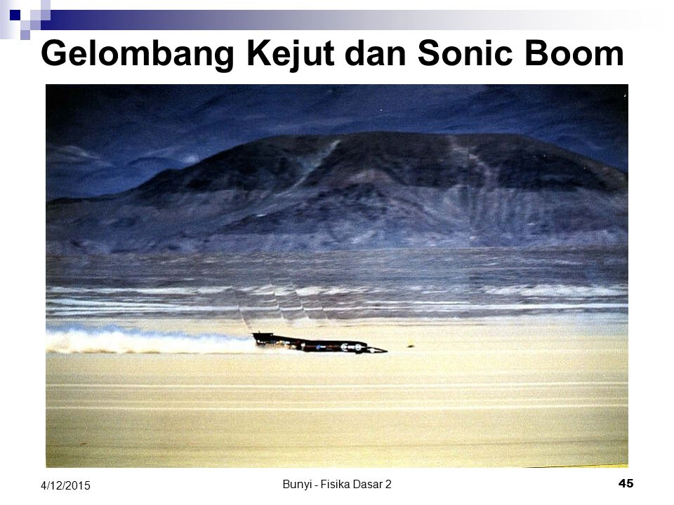 Bunyi - Fisika Dasar 2 44 4/12/2015 Gelombang Kejut Sonic Boom: T-38 Talon twin-engine, high-altitude, supersonic jet trainer