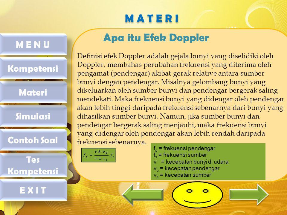 Apa itu Efek Doppler Definisi efek Doppler adalah gejala bunyi yang diselidiki oleh Doppler, membahas perubahan frekuensi yang diterima oleh pengamat (pendengar) akibat gerak relative antara sumber bunyi dengan pendengar.