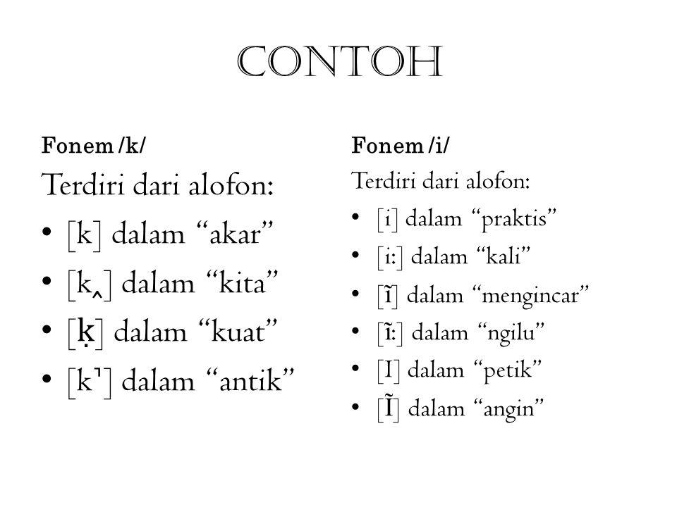 """Contoh Fonem /k/ Terdiri dari alofon: [k] dalam """"akar"""" [k] dalam """"kita"""" [ ḳ ] dalam """"kuat"""" [k] dalam """"antik"""" Fonem /i/ Terdiri dari alofon: [i] dalam"""