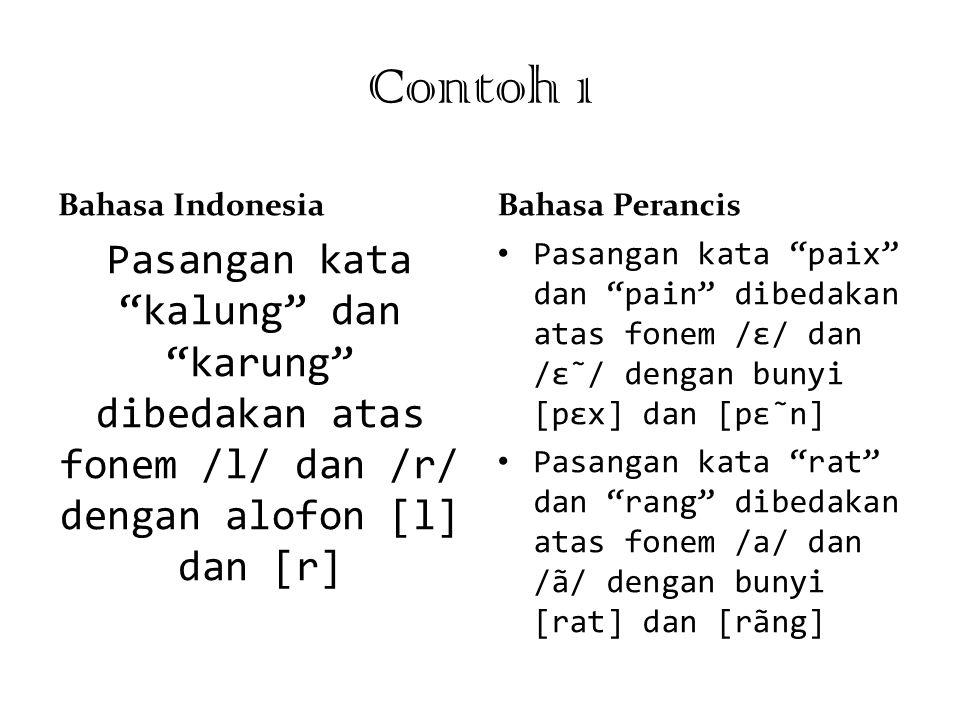 """Contoh 1 Bahasa Indonesia Pasangan kata """"kalung"""" dan """"karung"""" dibedakan atas fonem /l/ dan /r/ dengan alofon [l] dan [r] Bahasa Perancis Pasangan kata"""