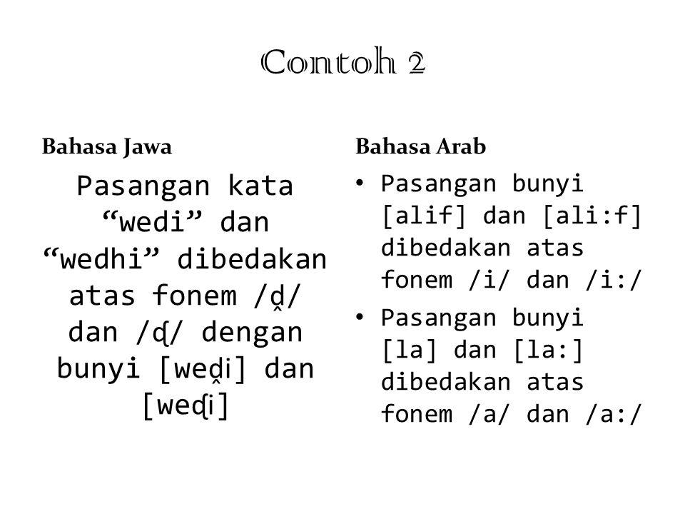 """Contoh 2 Bahasa Jawa Pasangan kata """"wedi"""" dan """"wedhi"""" dibedakan atas fonem / ḓ / dan / ᶑ / dengan bunyi [we ḓi ] dan [we ᶑi ] Bahasa Arab Pasangan bun"""