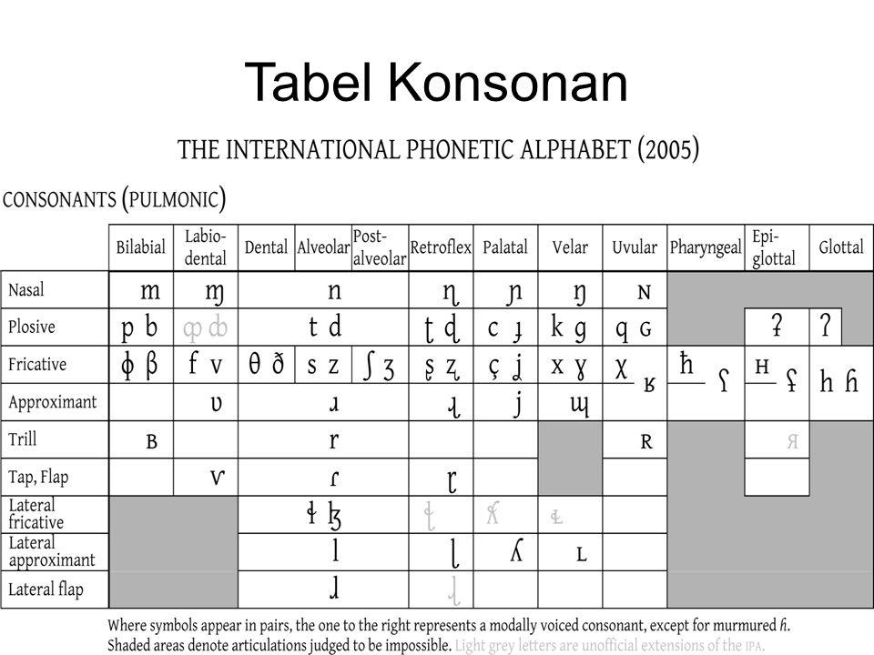 Tabel Konsonan