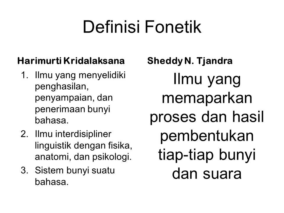 Definisi Fonetik Harimurti Kridalaksana 1.Ilmu yang menyelidiki penghasilan, penyampaian, dan penerimaan bunyi bahasa. 2.Ilmu interdisipliner linguist