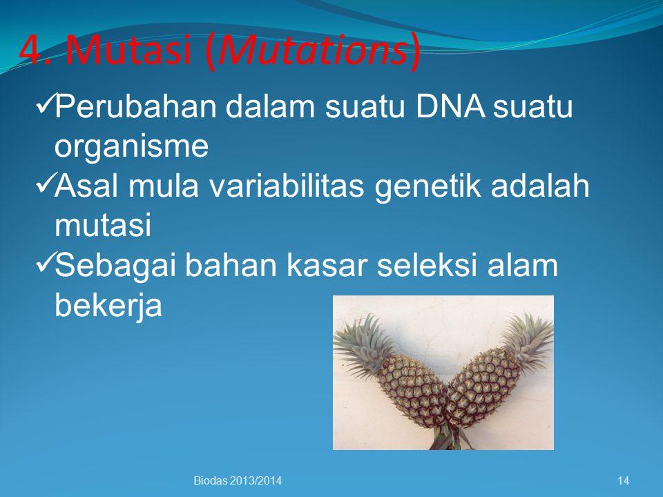 4. Mutasi (Mutations) Biodas 2013/201414 Perubahan dalam suatu DNA suatu organisme Asal mula variabilitas genetik adalah mutasi Sebagai bahan kasar se