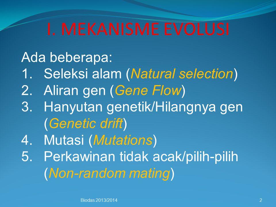 I. MEKANISME EVOLUSI Biodas 2013/20142 Ada beberapa: 1.Seleksi alam (Natural selection) 2.Aliran gen (Gene Flow) 3.Hanyutan genetik/Hilangnya gen (Gen