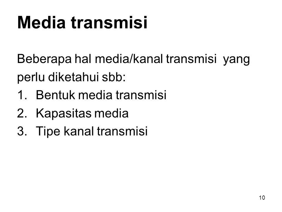10 Media transmisi Beberapa hal media/kanal transmisi yang perlu diketahui sbb: 1.Bentuk media transmisi 2.Kapasitas media 3.Tipe kanal transmisi