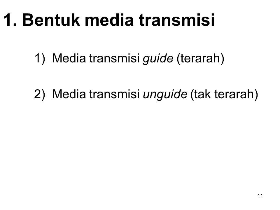 11 1. Bentuk media transmisi 1) Media transmisi guide (terarah) 2) Media transmisi unguide (tak terarah)