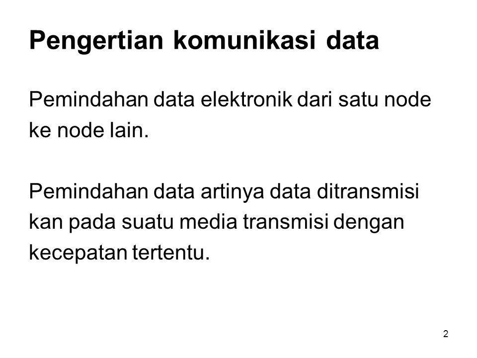 2 Pengertian komunikasi data Pemindahan data elektronik dari satu node ke node lain. Pemindahan data artinya data ditransmisi kan pada suatu media tra