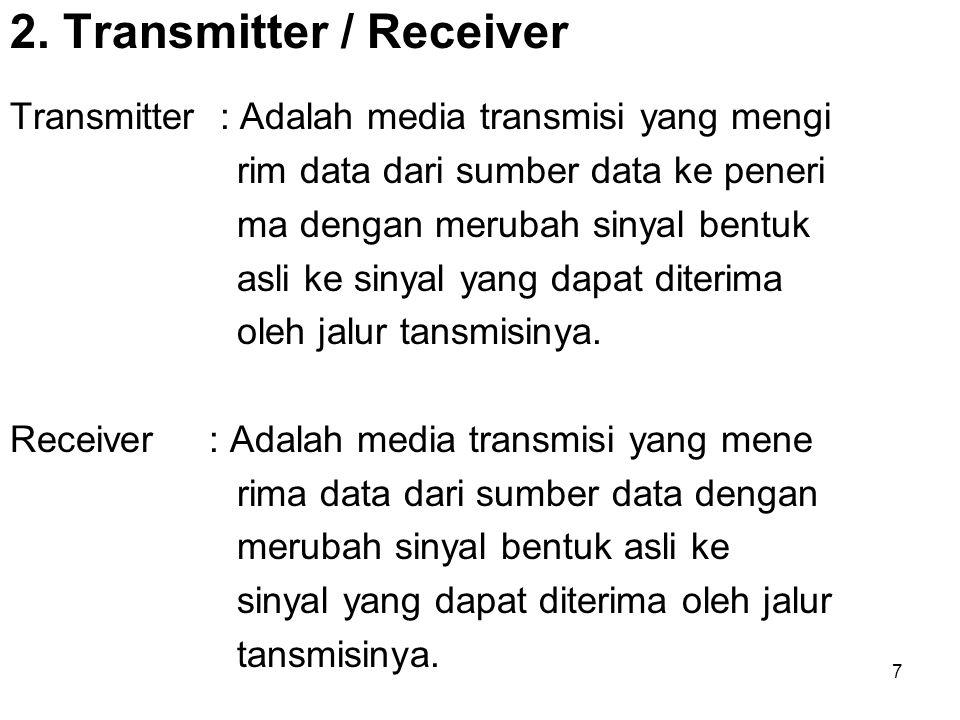 7 2. Transmitter / Receiver Transmitter : Adalah media transmisi yang mengi rim data dari sumber data ke peneri ma dengan merubah sinyal bentuk asli k