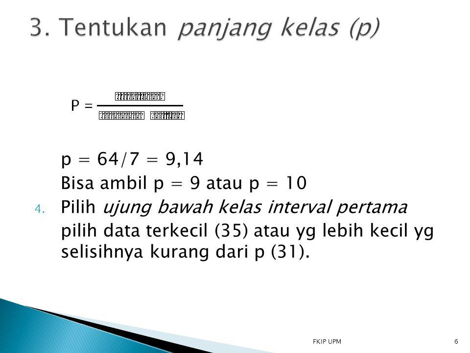 p = 64/7 = 9,14 Bisa ambil p = 9 atau p = 10 4. Pilih ujung bawah kelas interval pertama pilih data terkecil (35) atau yg lebih kecil yg selisihnya ku