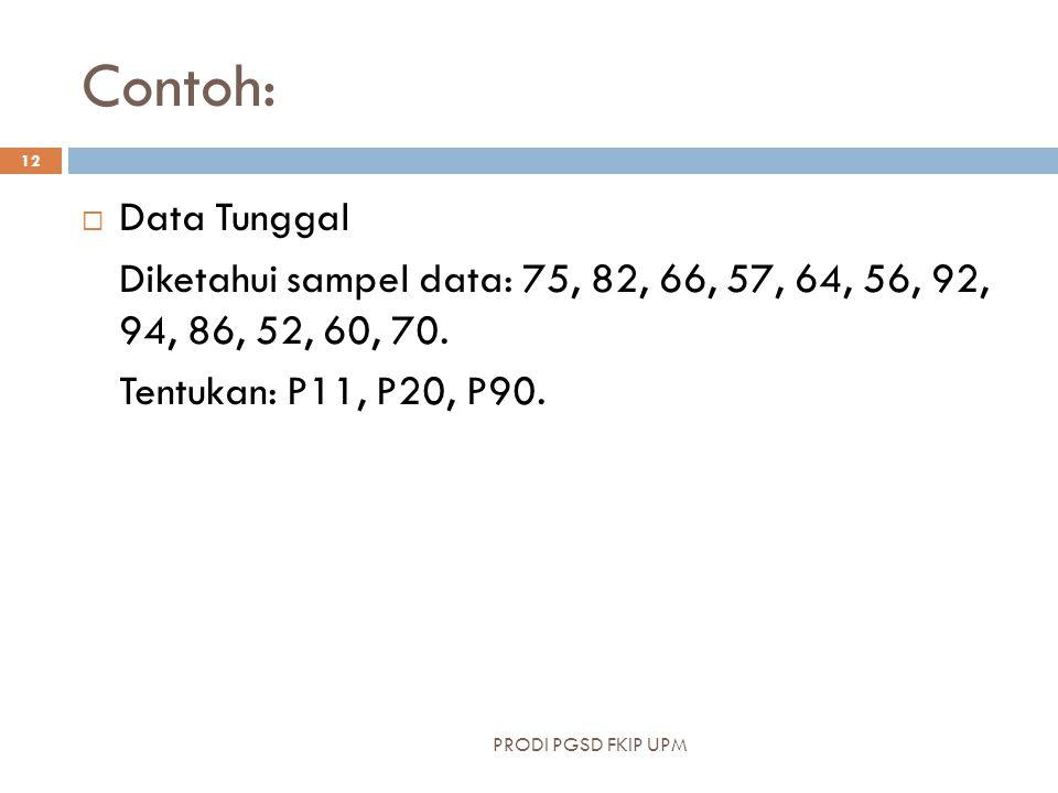 Contoh:  Data Tunggal Diketahui sampel data: 75, 82, 66, 57, 64, 56, 92, 94, 86, 52, 60, 70. Tentukan: P11, P20, P90. PRODI PGSD FKIP UPM 12