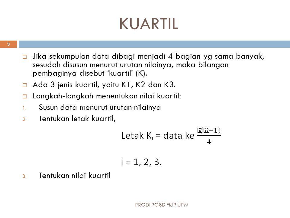 KUARTIL  Jika sekumpulan data dibagi menjadi 4 bagian yg sama banyak, sesudah disusun menurut urutan nilainya, maka bilangan pembaginya disebut 'kuartil' (K).