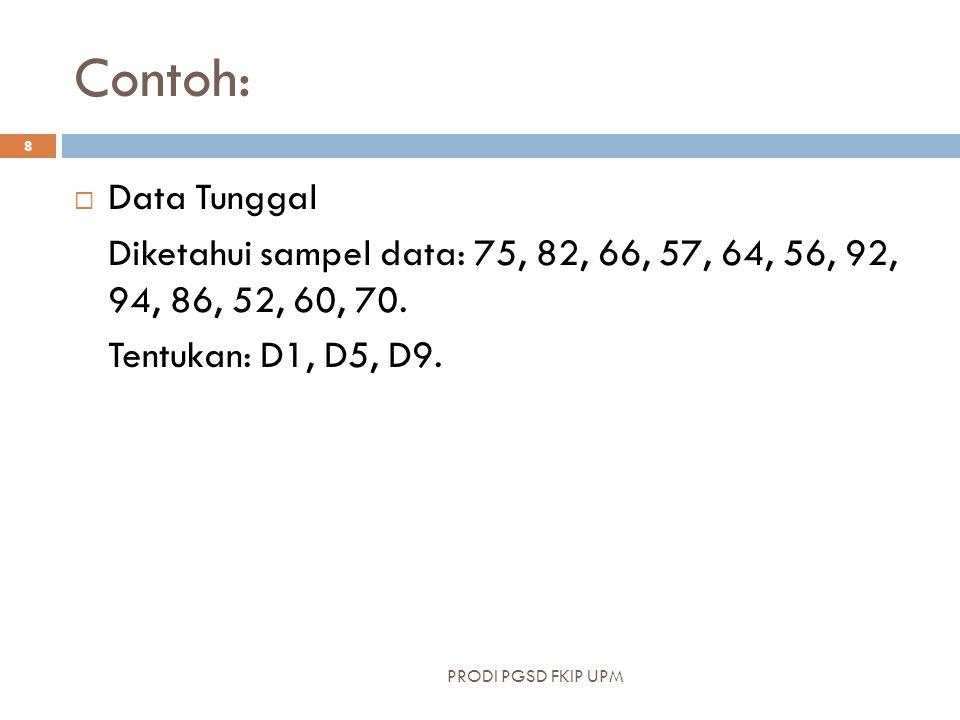 Contoh:  Data Tunggal Diketahui sampel data: 75, 82, 66, 57, 64, 56, 92, 94, 86, 52, 60, 70. Tentukan: D1, D5, D9. PRODI PGSD FKIP UPM 8