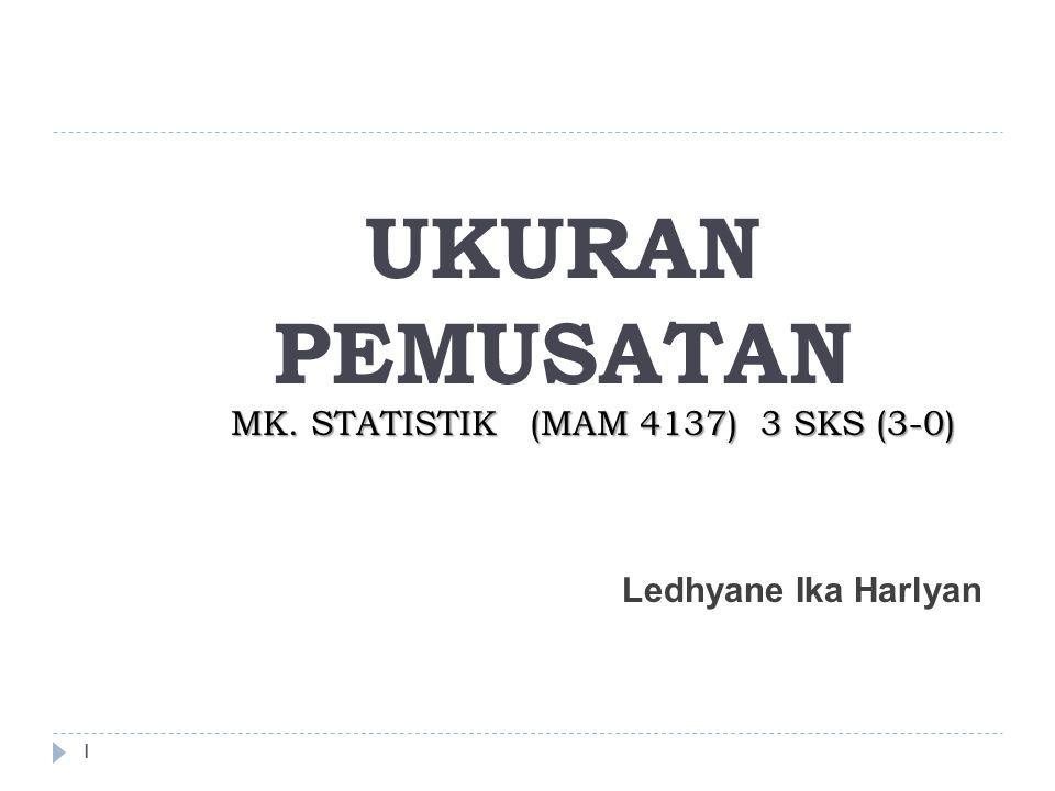 1 UKURAN PEMUSATAN MK. STATISTIK (MAM 4137) 3 SKS (3-0) Ledhyane Ika Harlyan