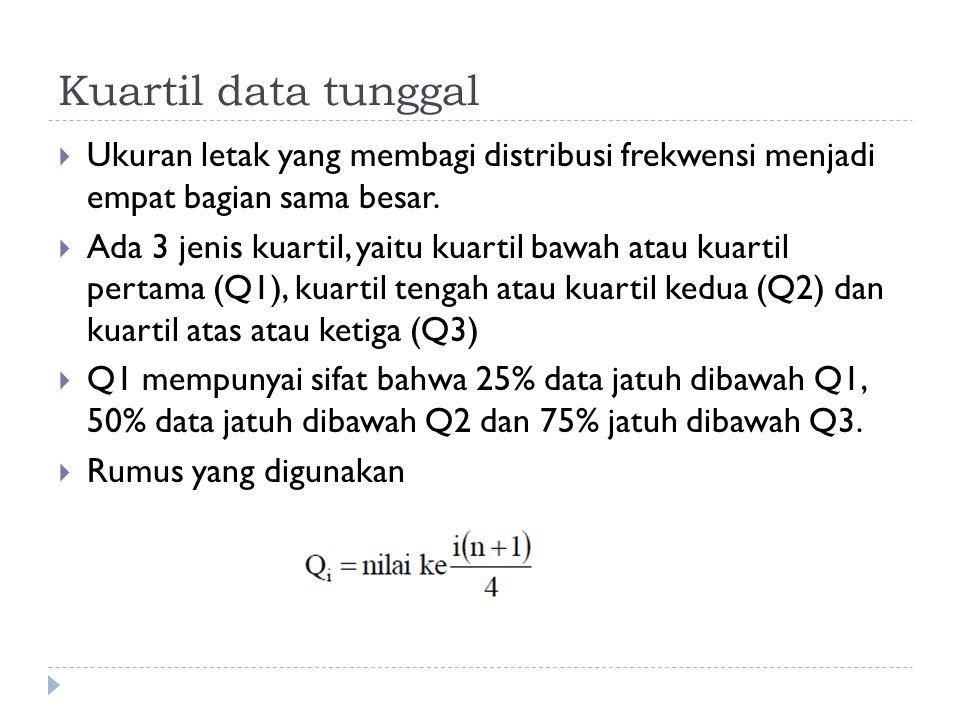 Kuartil data tunggal  Ukuran letak yang membagi distribusi frekwensi menjadi empat bagian sama besar.  Ada 3 jenis kuartil, yaitu kuartil bawah atau