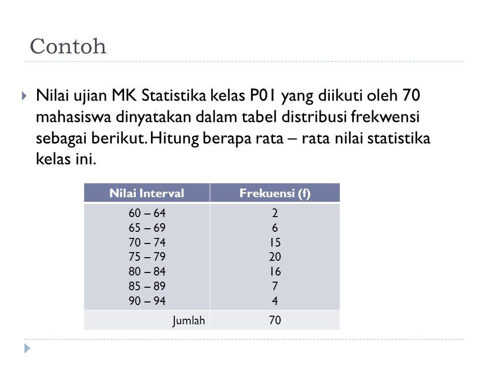 Contoh  Nilai ujian MK Statistika kelas P01 yang diikuti oleh 70 mahasiswa dinyatakan dalam tabel distribusi frekwensi sebagai berikut. Hitung berapa
