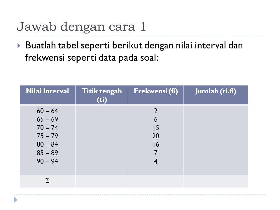 Jawab dengan cara 1  Buatlah tabel seperti berikut dengan nilai interval dan frekwensi seperti data pada soal: Nilai IntervalTitik tengah (ti) Frekwe